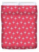 747 Jumbo Jet Airliner Aircraft - Crimson Duvet Cover