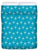 747 Jumbo Jet Airliner Aircraft - Cyan Duvet Cover