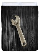 Adjustable Wrench Over Black And White Wood 72 Duvet Cover