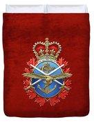 Canadian Armed Forces  -  C A F  Badge Over Red Velvet Duvet Cover