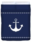 Anchor With Knot Border In White Duvet Cover by Helga Novelli