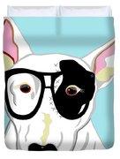 Hipster Bull Terrier Duvet Cover