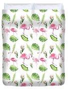 Watercolour Tropical Beauty Flamingo Family Duvet Cover