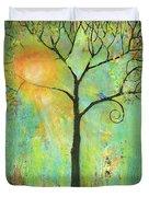 Hello Sunshine Tree Birds Sun Art Print Duvet Cover