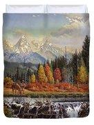 Western Mountain Landscape Autumn Mountain Man Trapper Beaver Dam Frontier Americana Oil Painting Duvet Cover