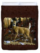Whitetail Deer - Alerted Duvet Cover by Crista Forest