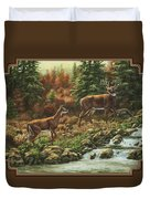 Whitetail Deer - Follow Me Duvet Cover by Crista Forest
