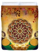 Autumn Serenade - Mandala Of The Two Peacocks Duvet Cover by Bedros Awak