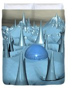 Blue Spikes Alien Terrain Duvet Cover