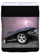 1966 Corvette Stingray With Lightning Duvet Cover