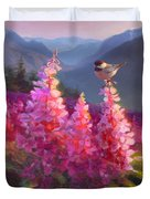 Eagle River Summer Chickadee And Fireweed Alaskan Landscape Duvet Cover