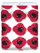 Three Red Poppies Duvet Cover