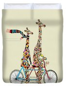 Giraffe Days Lets Tandem Duvet Cover