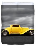 Yellow 32 Ford Deuce Coupe Duvet Cover