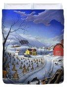 Folk Art Winter Landscape Duvet Cover