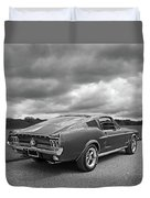 67 Fastback Mustang In Black And White Duvet Cover
