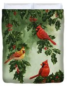 Cardinals Holiday Card - Version Without Snow Duvet Cover