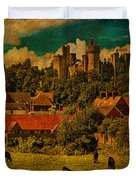 Arundel Castle With Cows Duvet Cover