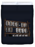 Asakusa Temple Lanterns With Moon Duvet Cover