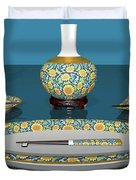 Asian Dining And Vases Duvet Cover