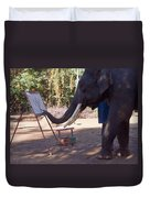 Asian Elephant Painting Picture Duvet Cover