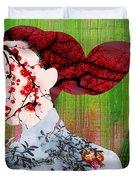 Asian Flower Woman Red Duvet Cover
