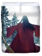 Asian Woman In Red Kimono Dancing In The Snow Spinning Around To Duvet Cover