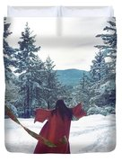 Asian Woman In Red Kimono Dancing On The Snow In The Forest Duvet Cover