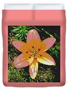 Asiatic Lily With Sandstone Texture Duvet Cover
