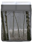 Aspen Stand In A Snowstorm Duvet Cover