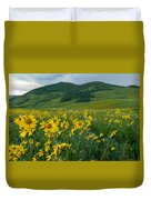 Aspen Sunflower And Mountain Landscape Duvet Cover