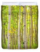 Aspen Tree Forest Autumn Time Portrait Duvet Cover