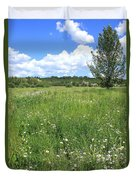 Aspen Tree In Meadow With Wild Flowers Duvet Cover