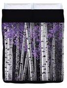Aspen Trunks Lavender Leaves Duvet Cover