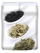 Assortment Of Dry Tea Leaves In Spoons Duvet Cover