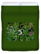 Asters And Fringed Grass-of-parnassus And Red Monkeyflowers On Highline Trail In Glacier National Pa Duvet Cover