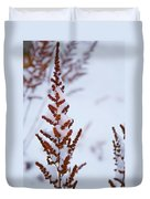 Astilbe Aglow In The Snow Duvet Cover
