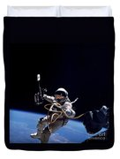 Astronaut Floats In Space Duvet Cover