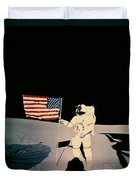 Astronaut With Us Flag On Moon Duvet Cover