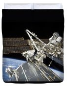Astronauts Perform A Series Of Tasks Duvet Cover by Stocktrek Images