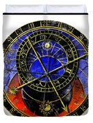 Astronomical Clock In Grunge Style Duvet Cover
