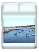 At Anchor In Rockport Ma Harbor Duvet Cover