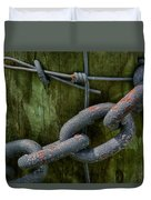 At The Fence Gate - Chain, Wire, And Post Duvet Cover