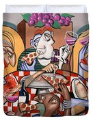 At The Pizzeria Duvet Cover by Anthony Falbo