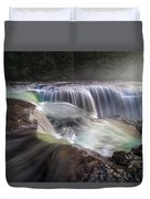 At The Top Of Lower Lewis River Falls Duvet Cover