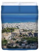 Athens, Greece. Athens Acropolis And City Aerial View From Lycavittos Hill Duvet Cover