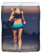Athletic Woman Jogging Outdoors Duvet Cover