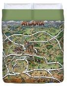 Atlanta Cartoon Map Duvet Cover