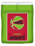 Atlanta Hawks Vintage Basketball Art Duvet Cover