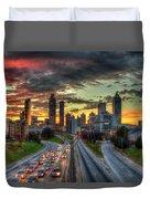 Atlanta Nite Lights Atlanta Downtown Cityscape Art Duvet Cover
